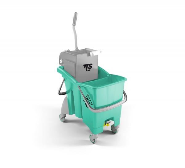 Ведро с отжимом и сливным отверстием TTS Action Pro 1х30л., зеленое