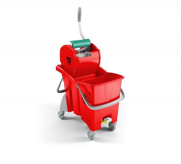 Ведро с отжимом и сливным отверстием TTS Action Pro 1х30л., красное